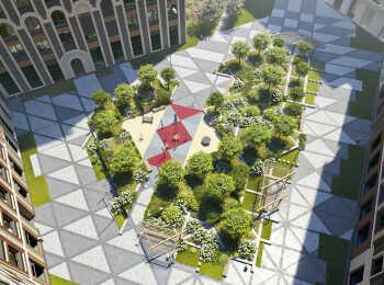 Озеленение двора в ЖК Серебряный фонтан